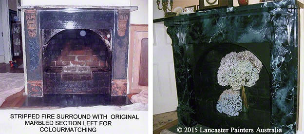 Stripped and Hand Painted Marble Fireplaces in The Lodge, Stirling